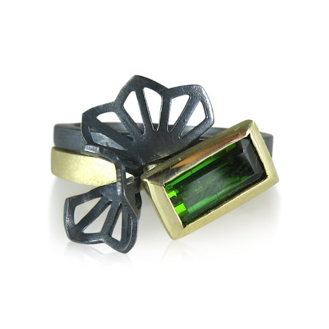 green tourmaline baguette ring