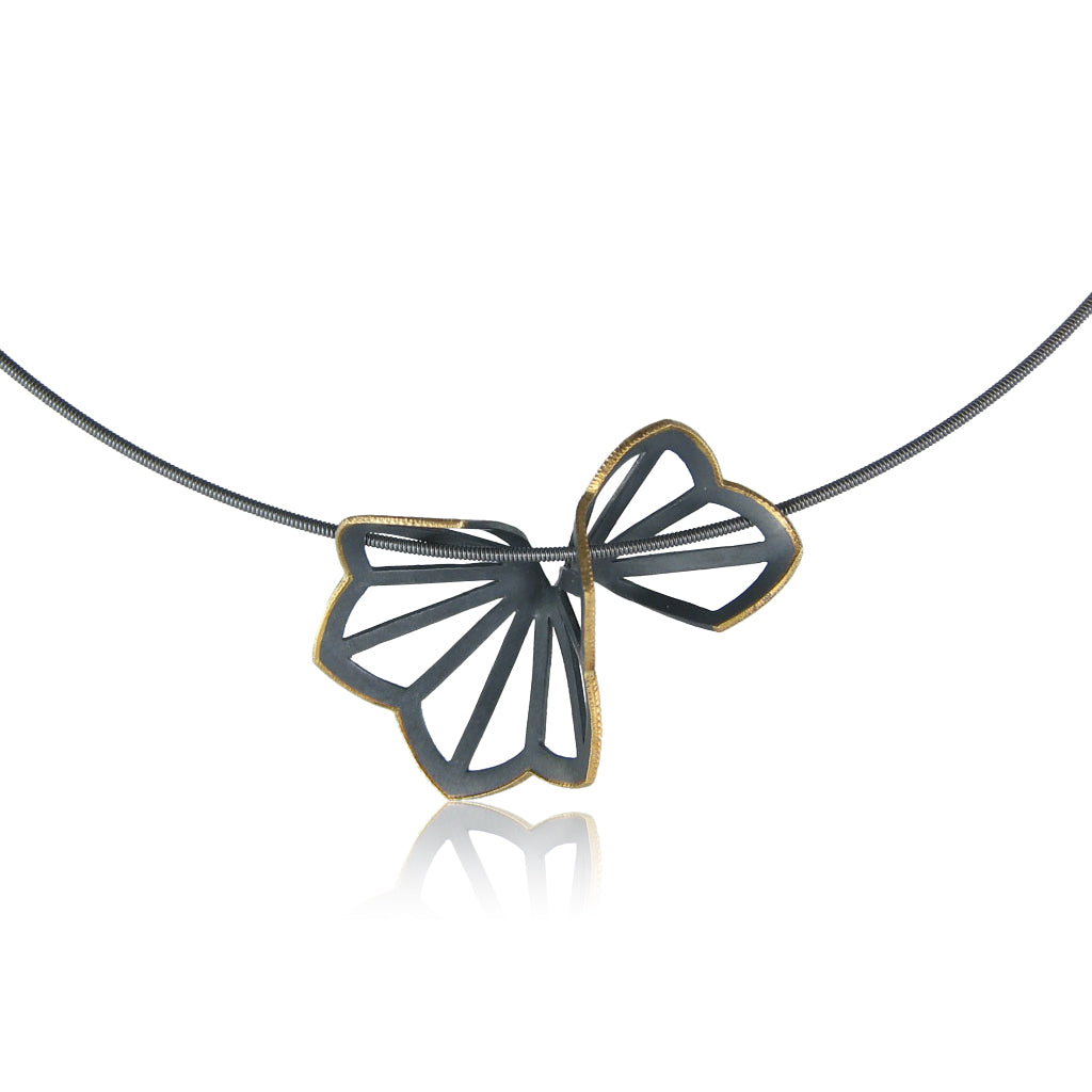 hyacinth fold necklace with 18k yellow gold edge