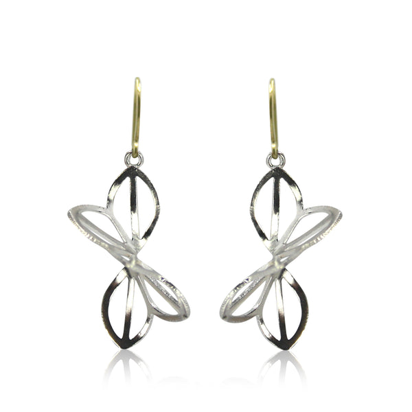 bright silver anise fold earrings with french wires