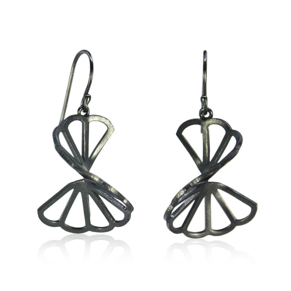 oxidized silver cloud fold earrings with french wires