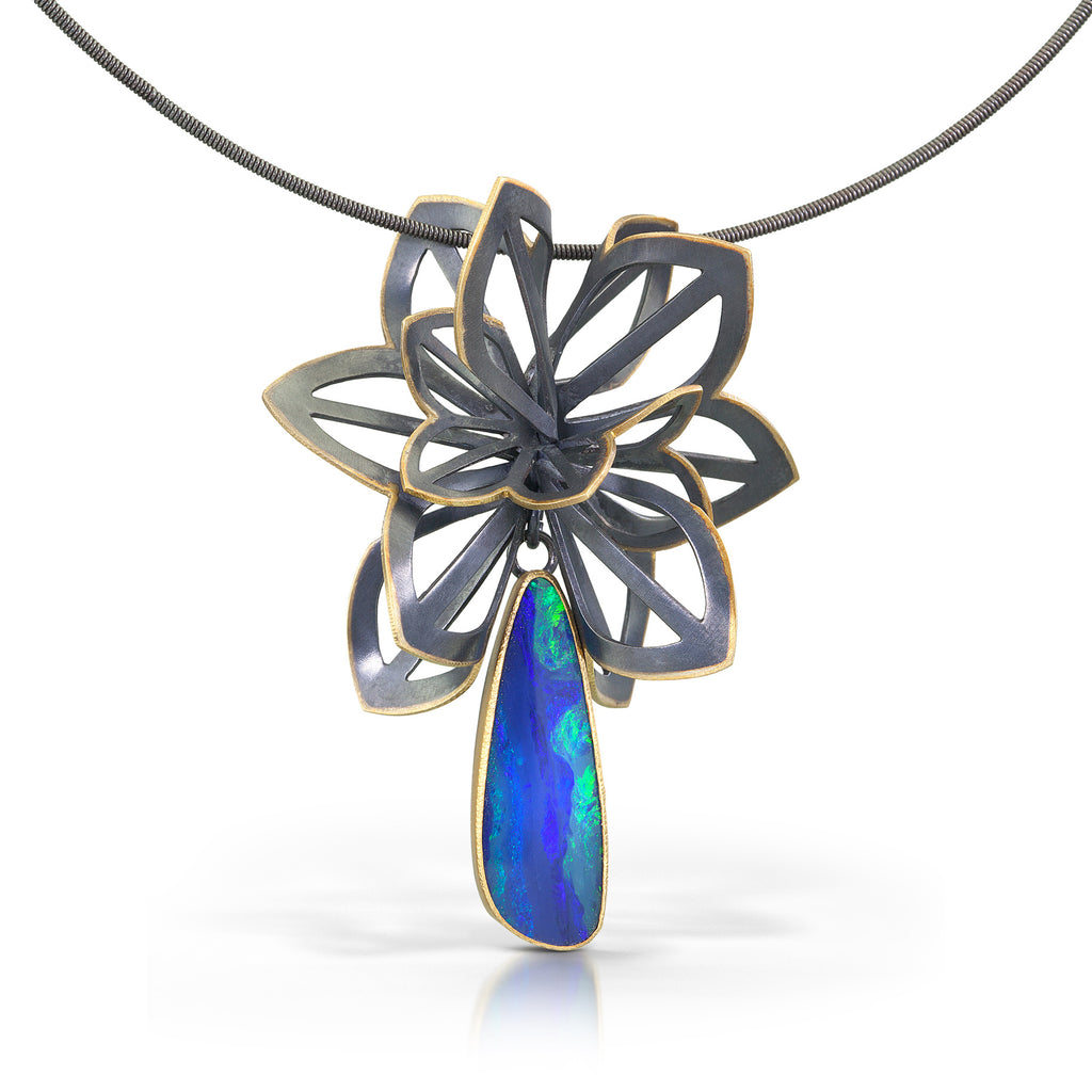 one of a kind opal origami necklace
