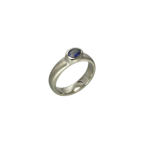 Palladium 4mm  band with oval sapphire