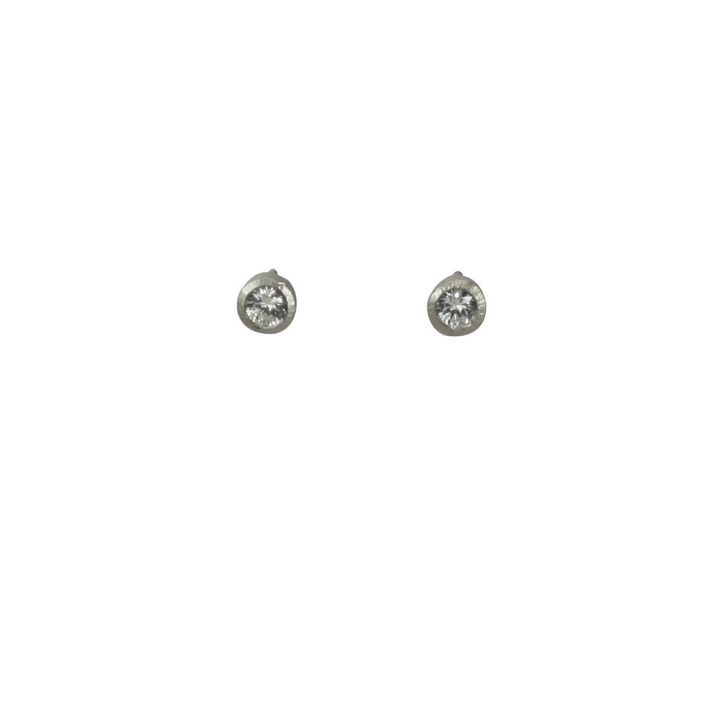 palladium studs with white sapphires