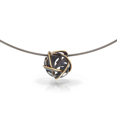 peony bud necklace with 18k yellow gold edge