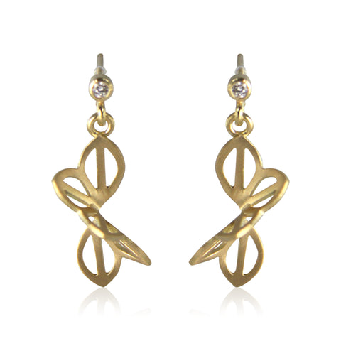 petite anise fold earrings in 18 karat gold with diamonds