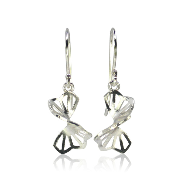 bright silver hyacinth fold earrings with french wires