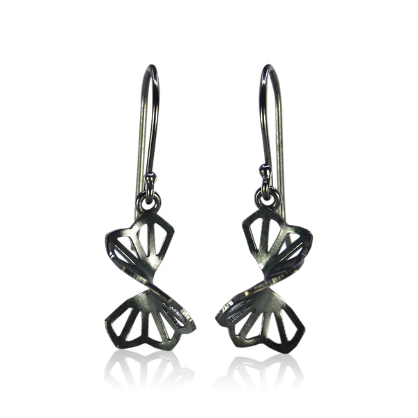 oxidized silver hyacinth fold earrings with french wires