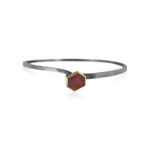 hook bracelet with hexagon shaped ruby