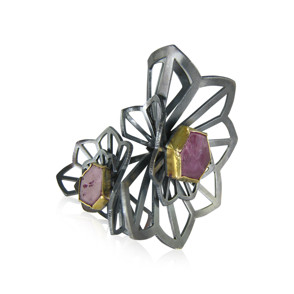 kirigami fan ring with rubies