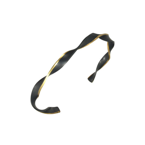 twist bracelet edged with 18k yellow gold