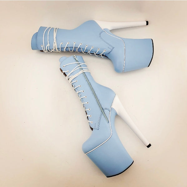 Sky blue white heel genuine leather ankle - mid calf boots