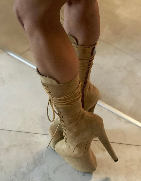Sand suede ankle - mid calf high boots
