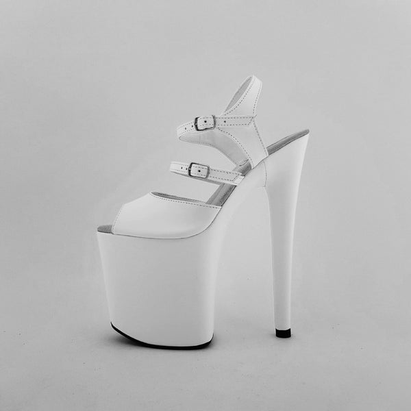 Classic extra strap white genuine leather sandals