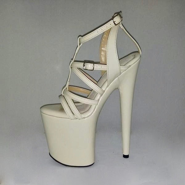 "8"" Monica cream patent leather sandals"