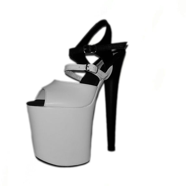 Classic extra strap black and white leather sandals