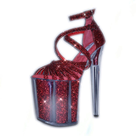 Siren red glitter platform filled sandals