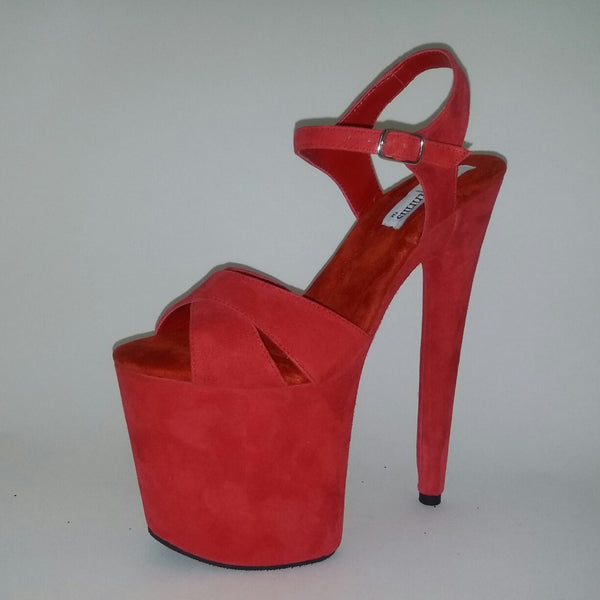 "8"" red suede"
