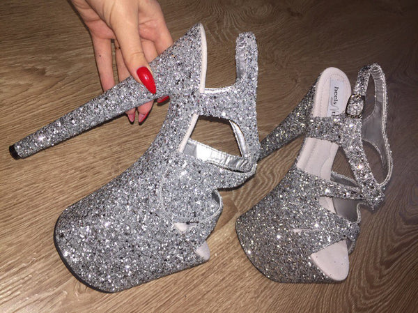 "8"" Wishes silver glitter sandals"