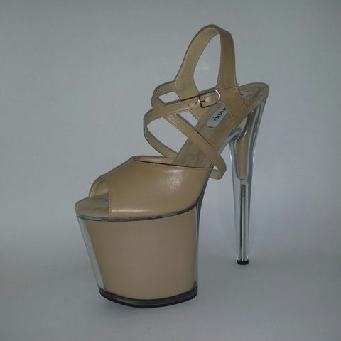 "8"" Kisses beige leather filled platform sandals"