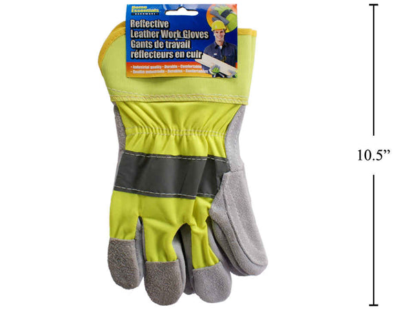 Reflective Leather Work Gloves