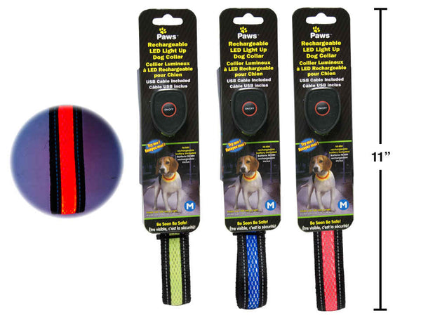 "20"" Light Up Rechargeable Pet Collar w/ USB Cable (M)"