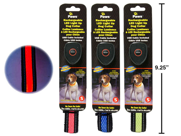 "16"" Light Up Rechargeable Pet Collar w/ USB Cable (S)"