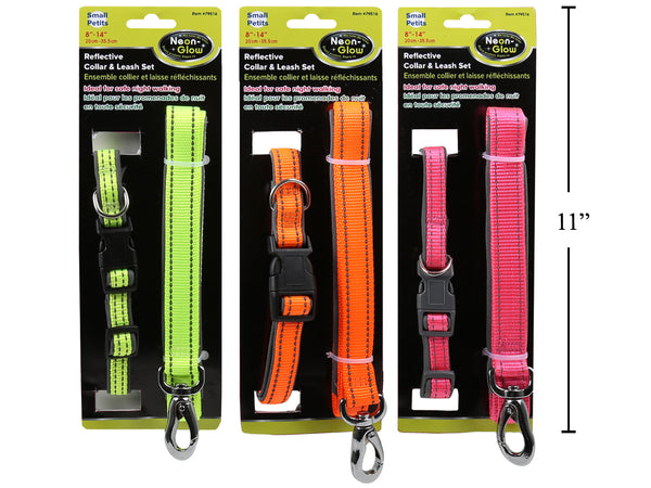 "Reflective Pet Collar and Leash 8""-14"""