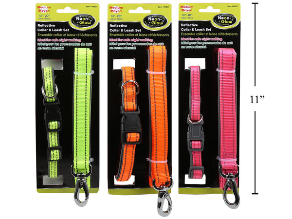 "Reflective Pet Collar and Leash 13""-20"""