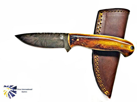 Damascus Hunting Knife, Forged by Titan, TD-204