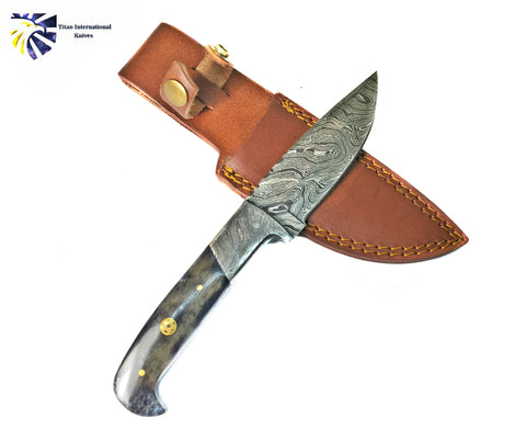 Damascus Knife/ Titan/ Camp/ Hunting Knife / Dyed Bone TD-191Y