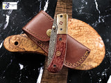 Damascus Steel Folding Knife Tanto Blade Dyed Bone Handle and Copper Bolster Titan Pocket Samurai