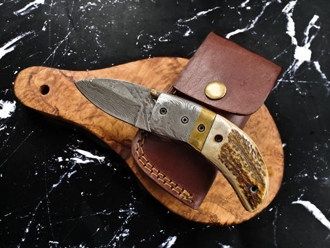 20. CUSTOM DAMASCUS POCKET KNIFE/ STAG HORN SCALES / HANDMADE BY TITAN