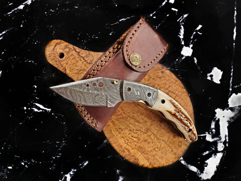 3. Custom Damascus Pocket Knife/ Stag Horn scales / Handmade by Titan