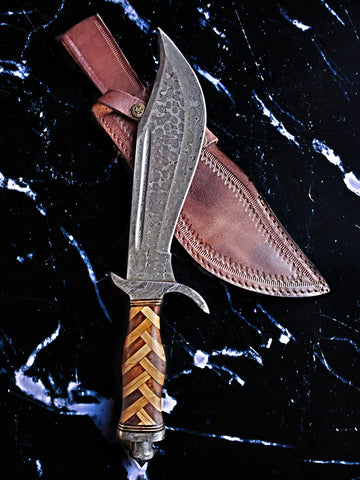 13''Inch Custom Handmade forged Damascus Hunting Bowie Knife Fixed Blade Olive wood & Walnut wood grips Titan Jungle Bowie
