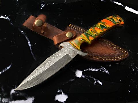 Titan International Damascus Knife Acrylic Handle TD-71