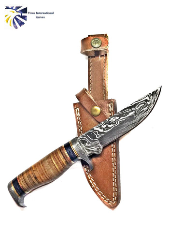 DAMASCUS KNIFE/ Titan/ Camp/ Hunting Knife / Leather Handel  TD-290