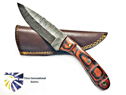 HAND FORGED KNIFE, DAMASCUS KNIFE, DROP- STYLE BLADE, Rosewood SCALES HUNTING KNIFE BY TITAN TD-180