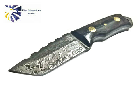 Damascus Steel Tanto Knife, Mini Beast / Dyed Bone grip by Titan TD-190