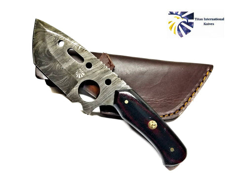 Damascus Steel Clever Style Tanto Blade by Titan Td-175/ Tactical / Micarta (Dark Red Blend) Handle