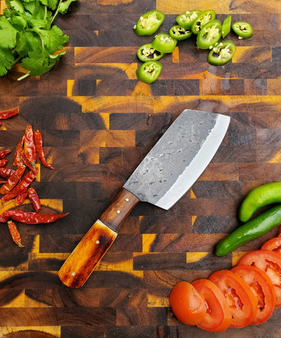 Handmade Carbon Steel Cleaver for Kitchen & Outdoor use by Titan International Knives TC-38