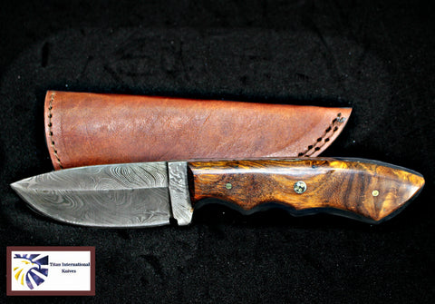 Hand forged knife, Damascus knife, Drop- Style blade, Black Walnut Scales Hunting knife by Titan Td-181