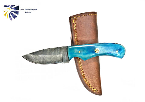 4'' Drop Point Damascus Kitchen Knife handmade by Titan International Dyed Bone Handle TD-232