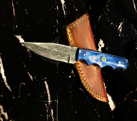 4'' Drop Point Damascus Knife handmade by Titan International Dyed Bone Handle TD-111