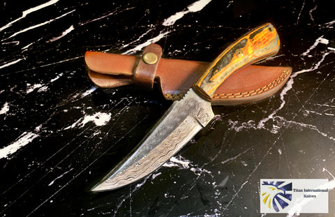 Damascus Hunting/Skinner Knife TD-218