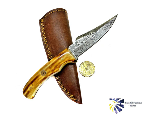 Burnt Bone Handle Titan International Knives Damascus Steel Skinning TD-215