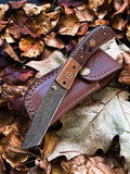 Damascus Steel Folding Knife Tanto Blade Engraved Walnut Handle and Copper Bolster Titan Pocket Samurai X