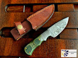 "8.5"" Inch Custom Handmade Forged Damascus Steel Hunting Bowie Knife Fixed Blade Green Micarta Handle With Leather Sheath Full Tang TD-227"