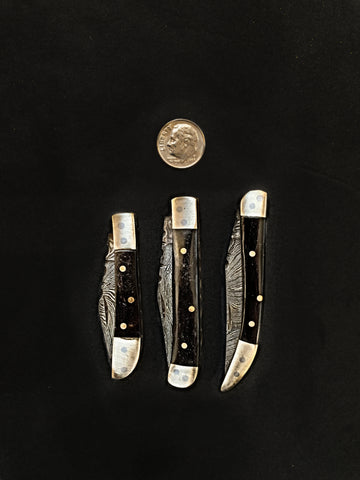 Mini 3 Folding Knife Set Titan Trio available in Bull Horn (Black) or Bone Handle (White) EDC