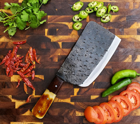 Handmade Carbon Steel Cleaver for Kitchen & Outdoor use by Titan International Knives