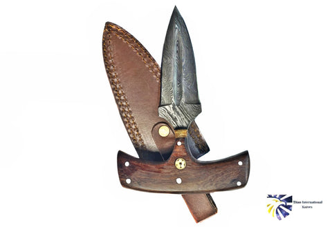 DAMASCUS BLADE/ PUSH DAGGER/ RAIN DROP DAMASCUS /A PERFECT CARRY SIZE BY TITAN TD-225